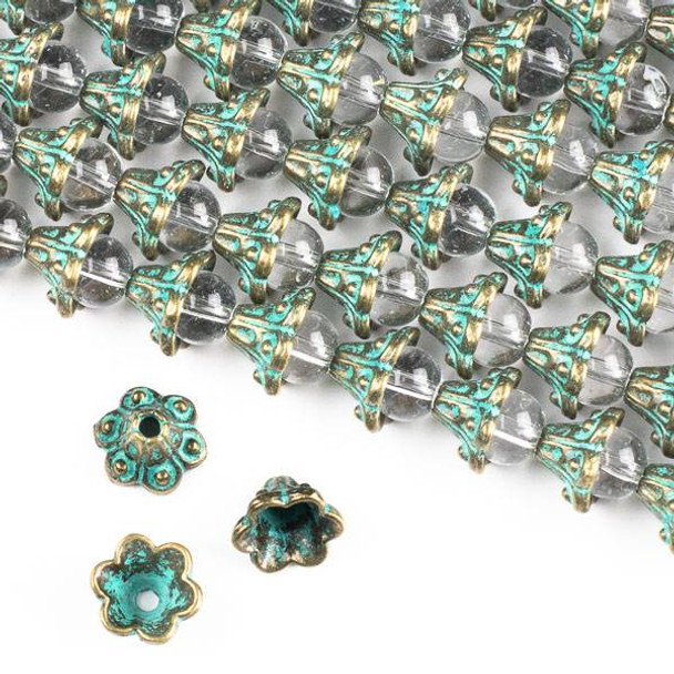 Green Bronze Colored Pewter 6x9mm Bali Style Floral Bead Caps - approx. 8 inch strand - CTB01059gb