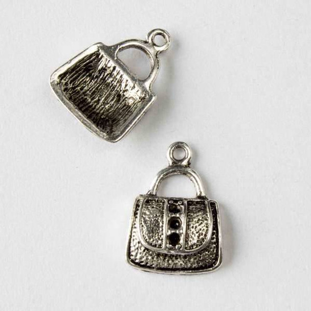 Silver Pewter 13x18mm Purse with 3 Dots Charm - 10 per bag