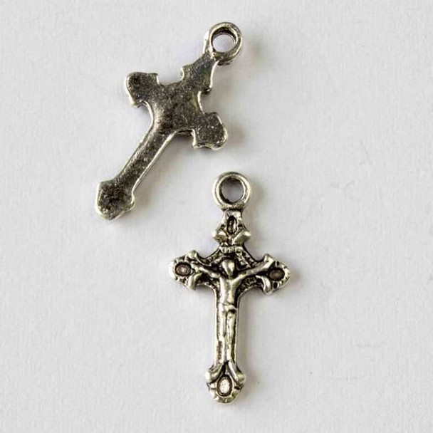 Silver Pewter 12x23mm Christ on the Cross Charm - 10 per bag