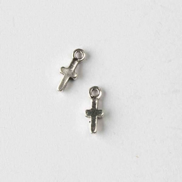 Silver Pewter 4x11mm Tiny Cross Charm - 10 per bag