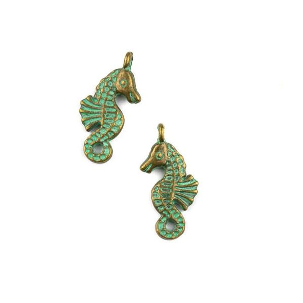 Green Bronze Colored Pewter 11x23mm Seahorse Charm - 10 per bag