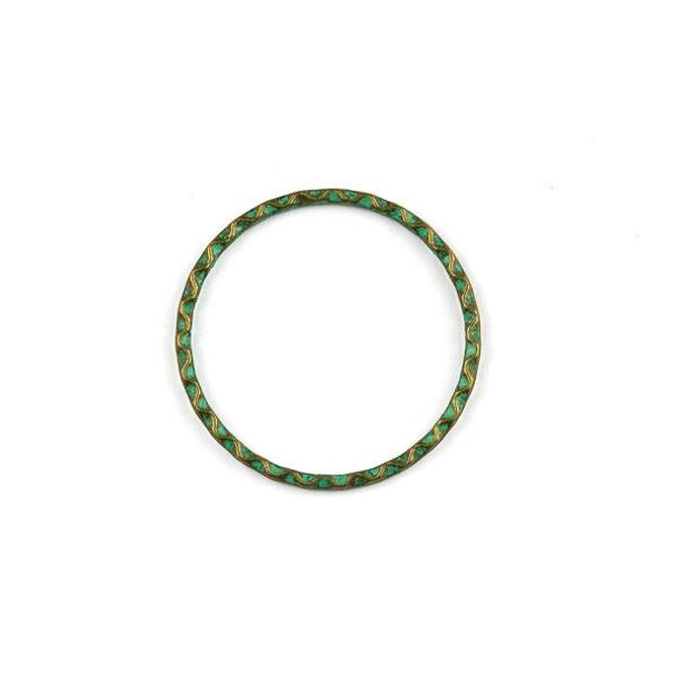 Green Bronze Colored Pewter 32mm Textured Hoops - 2 per bag
