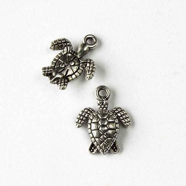 Silver Pewter 13x16mm Sea Turtle Charm - 10 per bag
