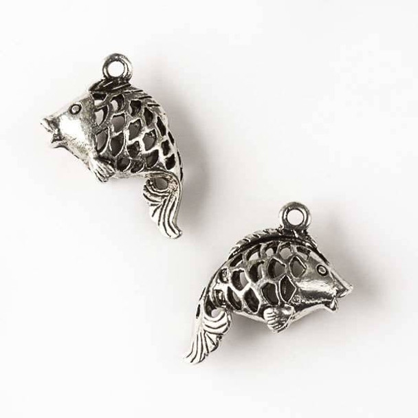 Silver Pewter 15x22mm Hollow Puffed Fish Charm - 3 per bag