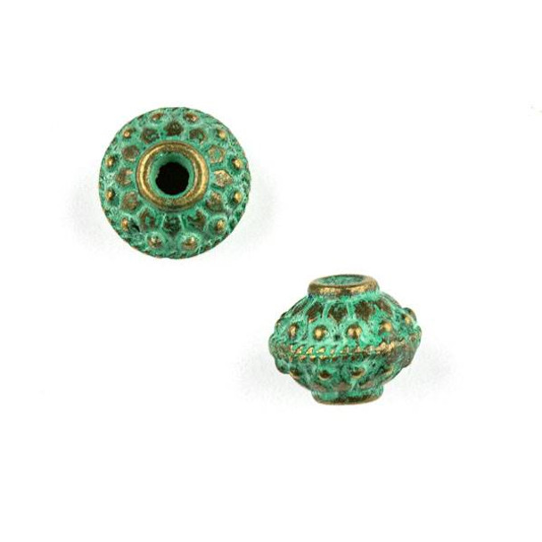 Green Bronze Colored Pewter 10x12mm Bumpy Saucer Beads with 2mm Large Hole - 2 per bag