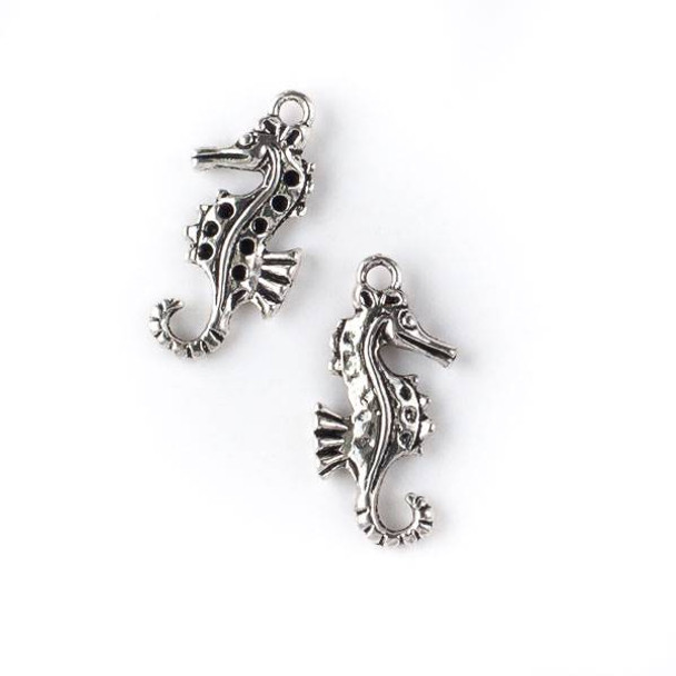 Silver Pewter 14x29mm Dotted Sea Horse Charm - 10 per bag