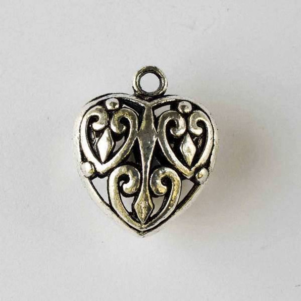 Silver Pewter 27x32mm Hollow Puff Heart Pendant - 1 per bag