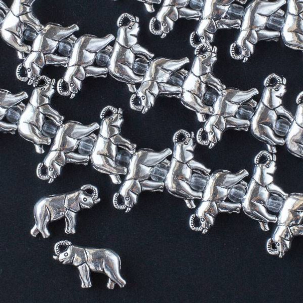 Silver Pewter 11x17mm Elephant Beads - approx. 8 inch strand - CTB16573s