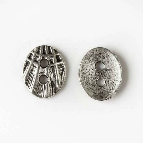 Silver Pewter 12x16mm Oval Shell Button - 10 per bag