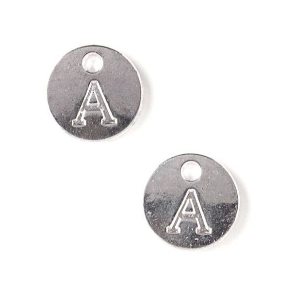 """Silver Pewter 12mm Letter """"A"""" Coin Charm - 6 per bag"""