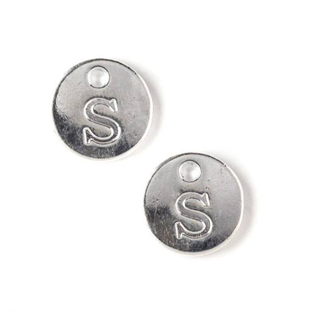 """Silver Pewter 12mm Letter """"S"""" Coin Charm - 6 per bag"""