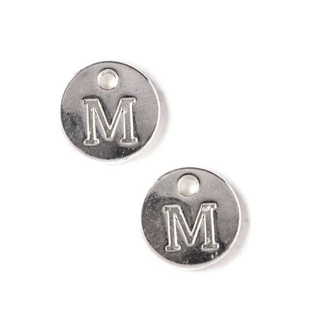 """Silver Pewter 12mm Letter """"M"""" Coin Charm - 6 per bag"""