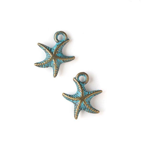 Green Bronze Colored Pewter 14x17mm Starfish Charm - 10 per bag