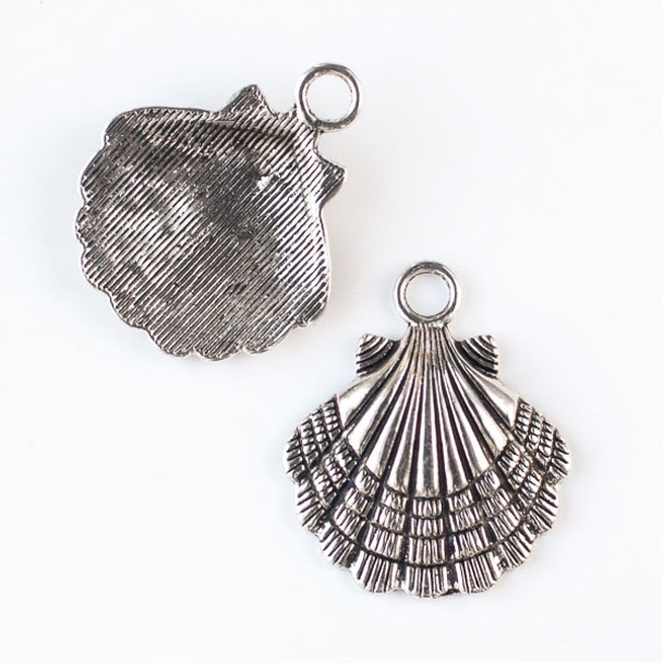 Silver Pewter 30x35mm Scallop Shell Pendant - 2 per bag