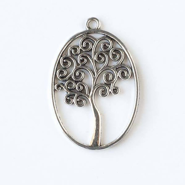 Silver Pewter 27x40mm Oval Shaped Tree of Life Pendant - 10 per bag