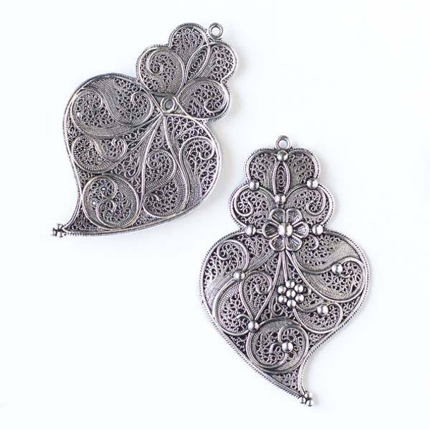 Silver Pewter 37x60mm Floral Pendant/Earring Finding - 6 per bag