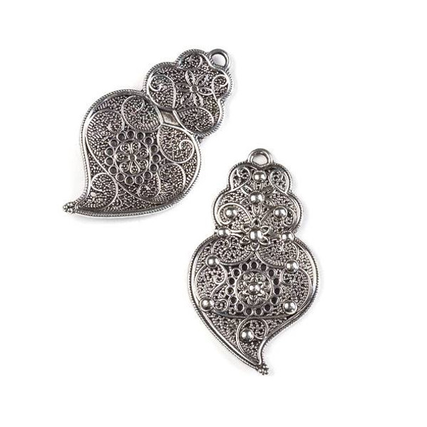 Silver Pewter 25x43mm Right Facing Floral Pendant/Earring Finding - 4 per bag