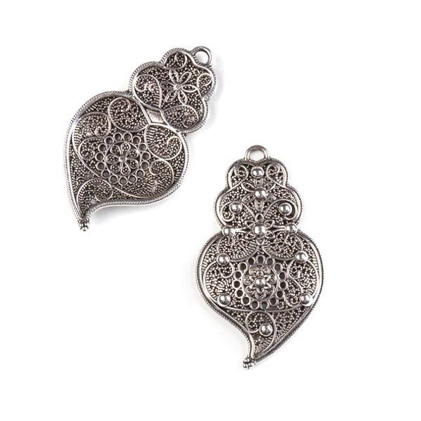 Silver Pewter 25x43mm Left Facing Floral Pendant/Earring Finding - 4 per bag