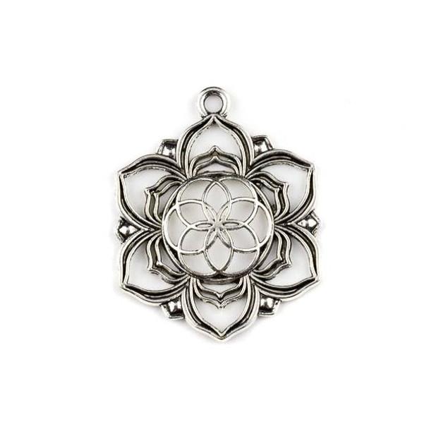 Silver Pewter 35x43mm Flower of Light Medallion Pendant - 1 per bag