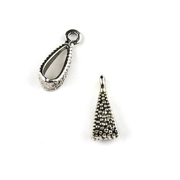 Silver Pewter 6x16mm Dotted Pendant Bail - 6 per bag