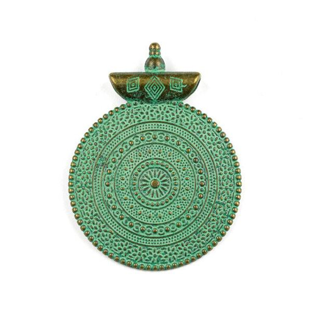 Green Bronze Colored Pewter 40x52mm Roman Style Medallion Pendant - 1 per bag