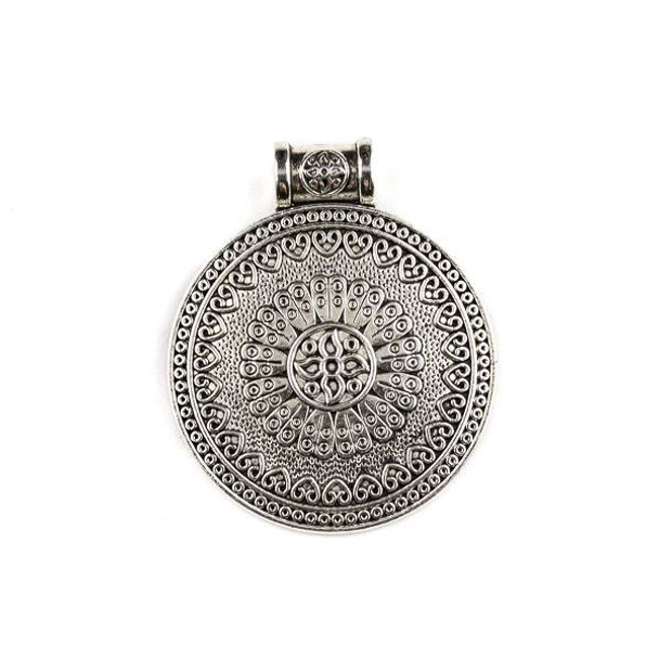 Silver Pewter 35x43mm Mayan Style Medallion Pendant - 1 per bag