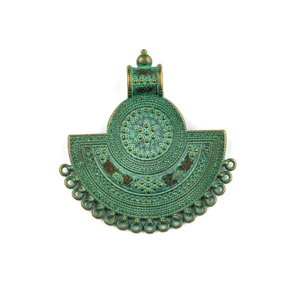 Green Bronze Colored Pewter 42x44mm Roman Style Fan Medallion Pendant with Loops for Dangles- 1 per bag