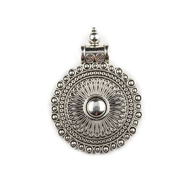 Silver Pewter 35x48mm Bali Style Medallion Pendant - 1 per bag