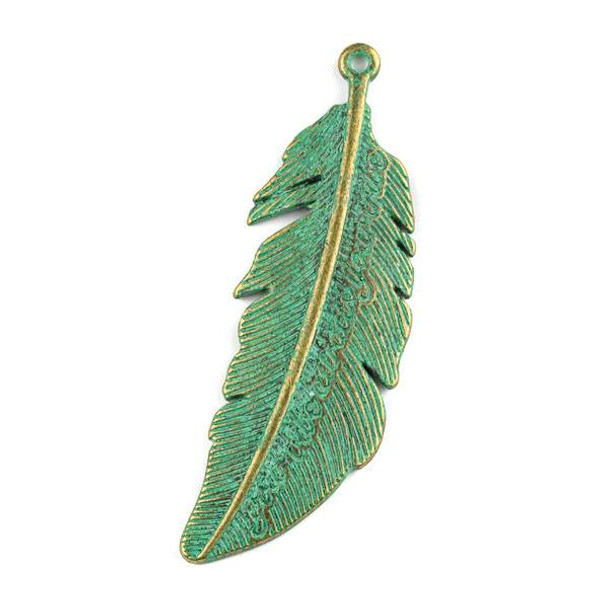 """Green Bronze Colored Pewter 21x65mm """"Your Vibe Attracts Your Tribe"""" Feather Pendant - 1 per bag"""