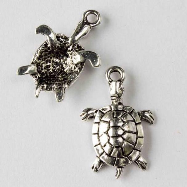 Silver Pewter 12x27mm Sea Turtle Charm - 10 per bag