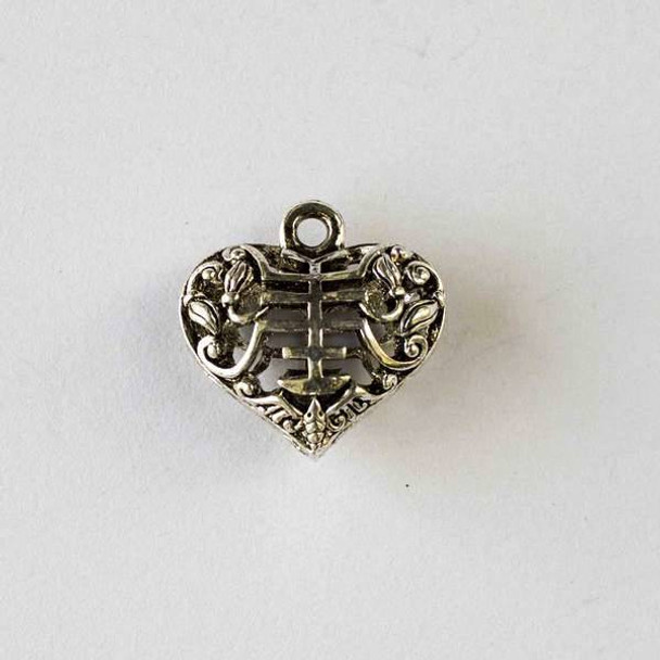Silver Pewter 20mm Hollow Puff Heart Pendant with Pagoda Design - 2 per bag