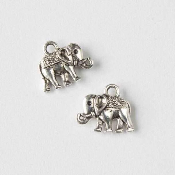 Silver Pewter 12x14mm Elephant Charm - 10 per bag
