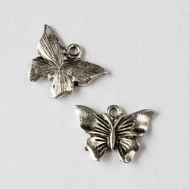 Silver Pewter 13x19mm Butterfly Charm - 10 per bag