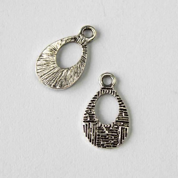 Silver Pewter 11x18mm Drops with Cross Hatching Charm - 10 per bag