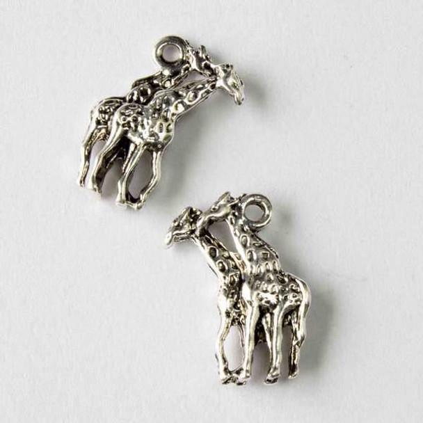 Silver Pewter 11x19mm Giraffe Pair Charm - 10 per bag