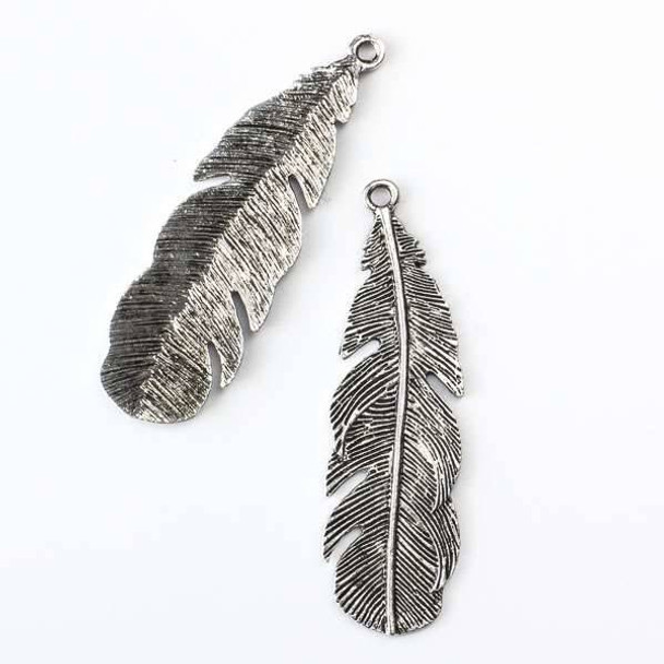 Silver Pewter 18x60mm Feather Pendant - 3 per bag