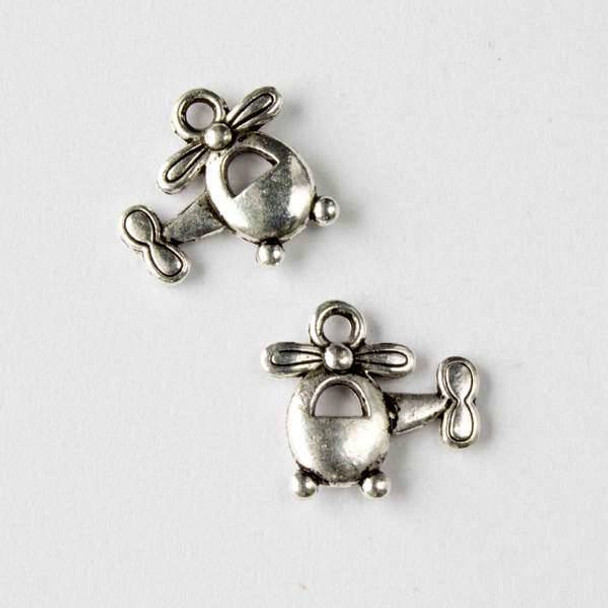 Silver Pewter 14x16mm Helicopter Charm - 10 per bag