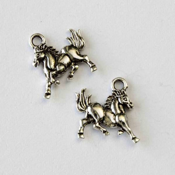 Silver Pewter 15mm Wild Mustang Horse Charm - 10 per bag