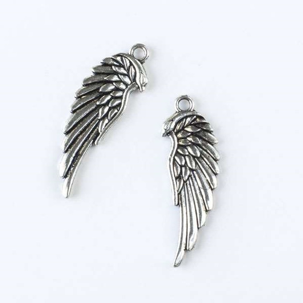 Silver Pewter 10x33mm Single Angel Wing Charm - 10 per bag