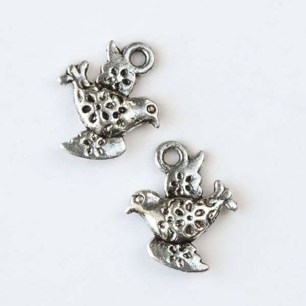 Silver Pewter 13x17mm Bird Charm with Flowers - 10 per bag