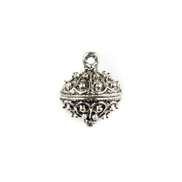 Silver Pewter 16x20mm Bali Style Dotted Bauble Charm - 1 per bag