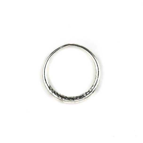 Silver Pewter 30mm Tapered Textured Hoop - 1 per bag
