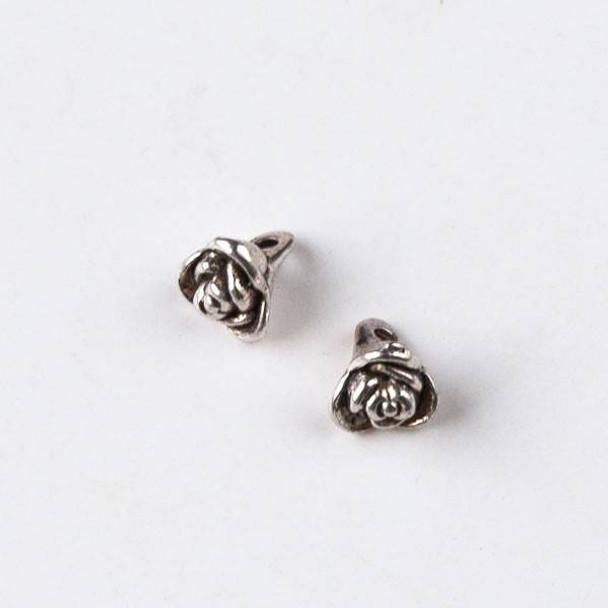 Silver Pewter 8x9mm Rose Drop Charm - 10 per bag