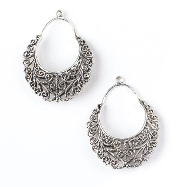 Silver Pewter 29x37mm Filigree Hoop Drop - 2 per bag - CTBP330s