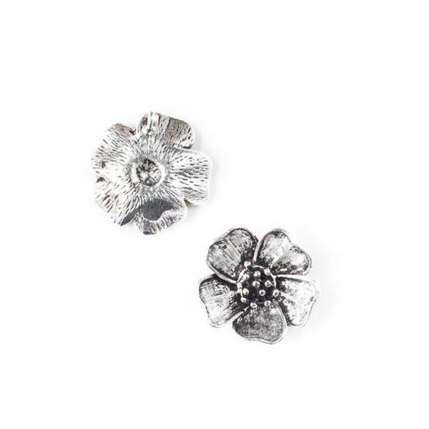 Silver Pewter 19mm Dogwood Flower Drop - 2 per bag - CTBP4487s