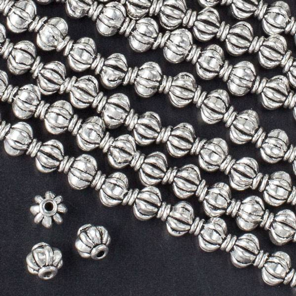Silver Pewter 6mm Pumpkin Beads - approx. 8 inch strand - CTBS572s