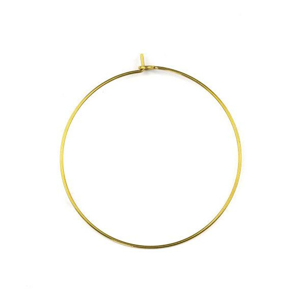 Raw Brass 40mm Hoop Ear Wires - 6 per bag - CTBXJ-029
