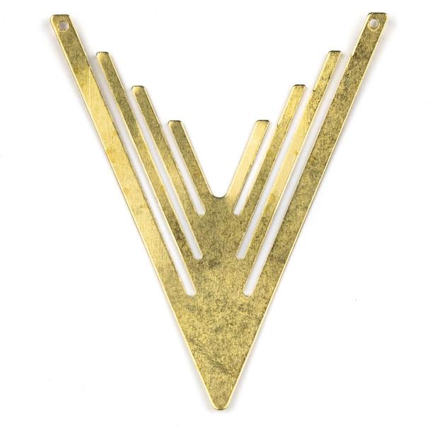 Raw Brass 48x60mm Tribal V Shaped Link Components - 6 per bag - CTBXJ-030