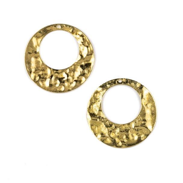 Raw Brass 28mm Textured Agogo Drop Components - 6 per bag - CTBXJ-038