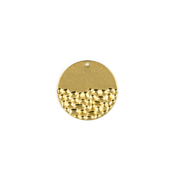Raw Brass 25mm Half Textured Coin Drop Components - 6 per bag - CTBXJ-048